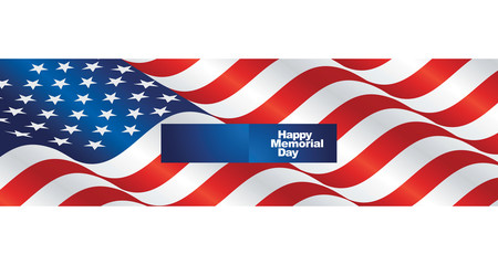 Happy Memorial Day USA flag two fold greeting card