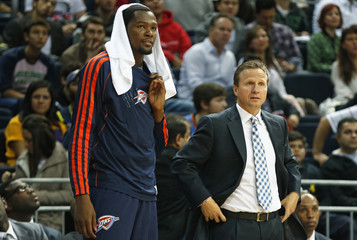 Oklahoma City Thunder forward Durant and head coach Brooks during NBA Global Game against Fenerbahce Ulker in Istanbul