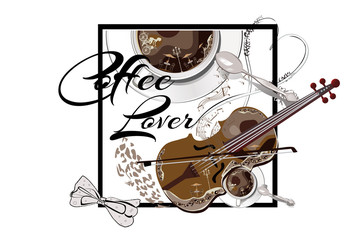 Coffee cup with a spoon and a violin. Cafe music. Hand drawn vector. T-shirt design for a coffee lover.