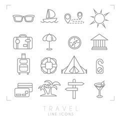 Outline thin travel and vacation icons set. Sunglasses, yacht, route, sun, suitcase, umbrella, compass, museum, luggage, lifebuoy, camping tent, message, money card, palms, arrows, cocktail.