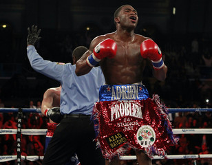 Boxer Adrien Broner from Cincinnati, Ohio celebrates after defeating Gavin Rees from Newport, Wales during their WBC Lightweight title bout in Atlantic City