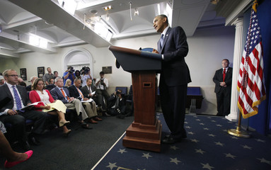 US President Barack Obama makes a statement and takes questions at the White House in Washington