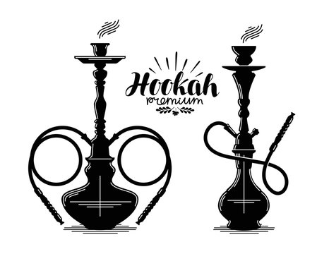 Hookah label set. Shisha, hooka, waterpipe, hubble-bubble, nargile icon or symbol. Vector illustration