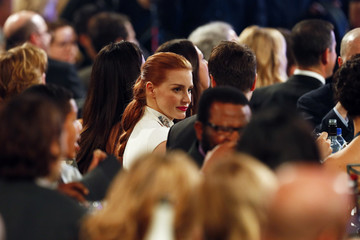 Jessica Chastain mingles during the 20th Annual Critics' Choice Movie Awards in Los Angeles