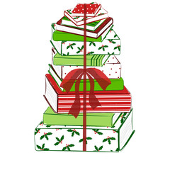 Christmas vector illustration. Twelve books for Christmas. Holiday reading, library, school print. Red and green books.