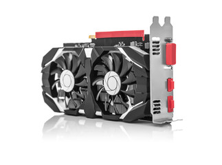 Graphics card isolated on white background.