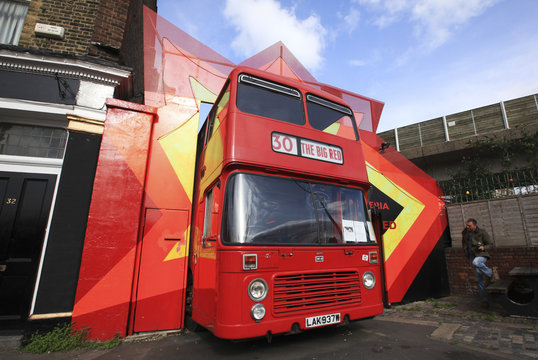 The Big Red Pizza Bus is seen in Deptford, south east London