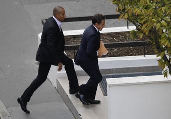 France's President Sarkozy arrives at the maternity clinic, Clinique de la Muette, in Paris