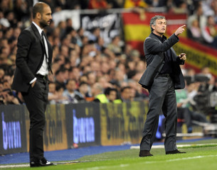 Real Madrid's coach Mourinho gestures during their Spanish first division soccer match in Madrid