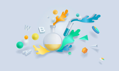 Creative concept banner. Vector illustration for research, education, analysis, science, laboratory, chemistry and medicine.