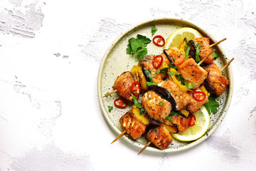 Grilled salmon kebab.Top view with copy space.