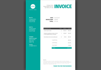 Teal and White Invoice Layout