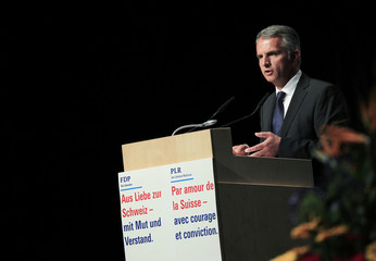 Switzerland's Interior Minister Burkhalter of the FDP speaks during a Party meeting in Lucerne