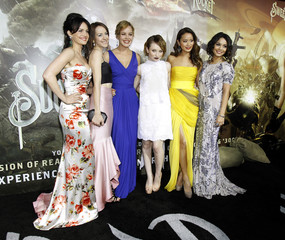 """Gugino, Malone, Cornish, Browning, Chung and Hudgens pose at the premiere of """"Sucker Punch"""" at the Grauman's Chinese theatre in Hollywood"""