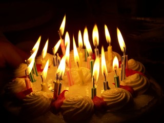Happy Birthday Cake with Flaming Candles