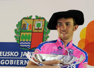 Lampre rider Gavazzi holds his trophy after winning the fifth stage of the Tour of the Basque Country cycling race in Zalla