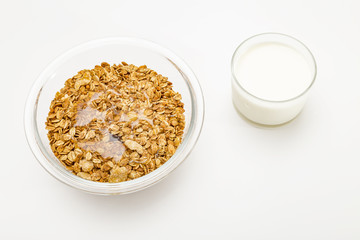 Granola cereal isolated on white backgroung