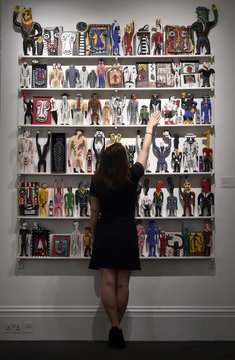 'Fanagalo Store' by Norman Catherine part of British pop star David Bowie's collection, is exhibited in a press view at Sotheby's auction house, in central London