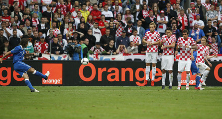 Italy's Andrea Pirlo shoots to score a goal against Croatia during their Group C Euro 2012 soccer match in Poznan