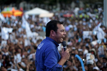 Guatemalan presidential candidate Jimmy Morales speaks during a political rally in downtown Guatemala City