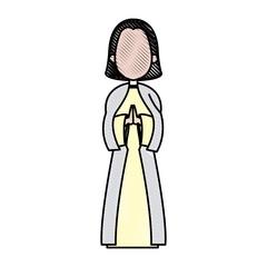 cartoon virgin mary pray spiritual christmas vector illustration