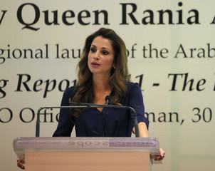 Jordan's Queen Rania delivers a speech during the regional launch of the UNESCO Education for All Global Monitoring Report 2011 (Arabic edition) in Amman