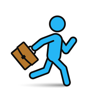 Businessman running with briefcase icon, vector man silhouette.