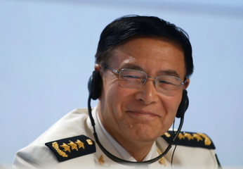 China's Joint Staff Department Deputy Chief Admiral Sun Jianguo speaks at the IISS Shangri-La Dialogue in Singapore