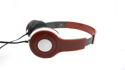 red Headphones on isolated