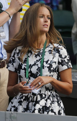 Kim Murray, wife of Andy Murray of Britain before his match against Roger Federer of Switzerland at the Wimbledon Tennis Championships in London