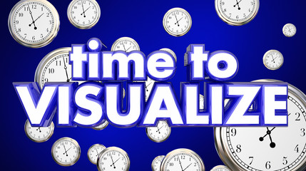 Time to Visualize Clocks Imagination Think Plan 3d Illustration