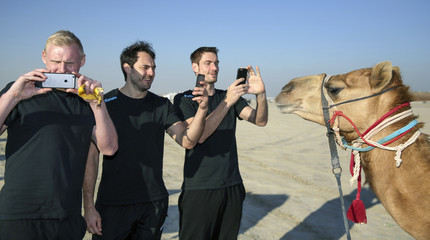 Wiencek, Mueller and goalkeeper Lichtlein take pictures of a camel during a desert trip with their team during the men's Handball World Championship 2015, outside Doha