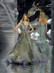 Models present creations by Lebanese designer Elie Saab as part of his Haute Couture Spring Summer 2010 fashion show in Paris