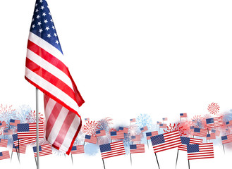 American flag with fireworks background design for USA 4 july independence day or other celebration