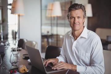 Mature man using laptop in restaurant