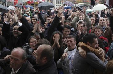 Kosovo Albanians celebrate the acquittal of former prime minister Ramush Haradinaj in the capital Pristina