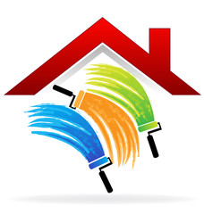 Painting a house logo vector