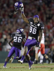 TCU Horned Frogs wide receiver Young celebrates after defeating the Wisconsin Badgers at the 97th Rose Bowl game in Pasadena