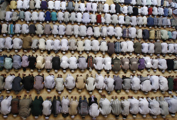 Muslim offer first Friday prayers during the Muslim holy month of Ramadan at a mosque in Allahabad