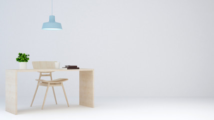 workspace on white background for artwork - 3D Rendering