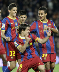 Barcelona's Bojan Krkic celebrates a goal against Ceuta during their Spanish King's Cup soccer match at Camp Nou stadium in Barcelona