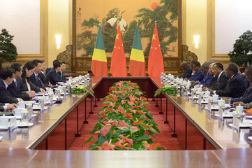 Congo Republic President Nguesso meets with Chinese President Xi at the Great Hall of the People in Beijing