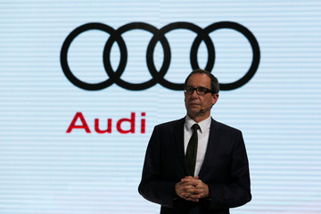 Joachim Wedler, President of Audi China, attends a news conference in Guangzhou