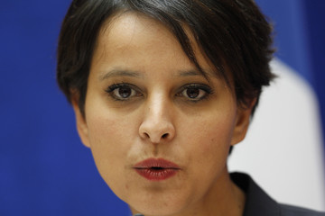 Vallaud-Belkacem, France's newly appointed government spokesperson and Women's Rights Minister,attends handover ceremony in Paris