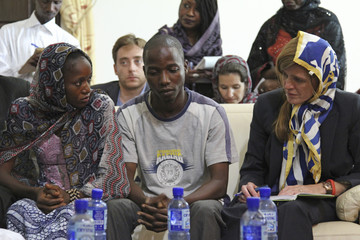 U.S. Ambassador to the United Nations, Samantha Power, meets Ebola survivors in Conakry, Guinea