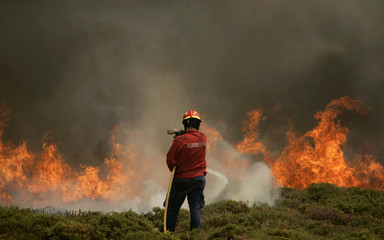 A firefighter attempts to extinguish a fire burning at Arada mountains