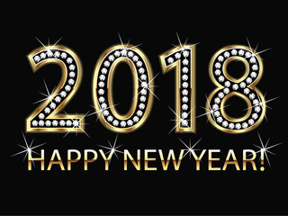 2018 Happy new year bling gold background vector
