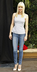 """Actress Faris, one of the voice talents from the new Sony Pictures Animation film """"Cloudy with a Chance of Meatballs 2"""", poses during a photo call in Beverly Hills, California"""