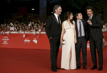 """Director Di Stefano poses with actors during the red carpet event for the movie """"Escobar:Paradise Lost"""" at the Rome Film Festival"""