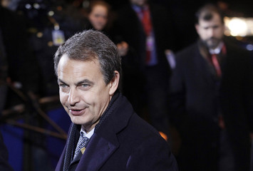 Spain's Prime Minister Jose Luis Rodriguez Zapatero arrives at a two-day European Heads of States Summit meeting in Brussels